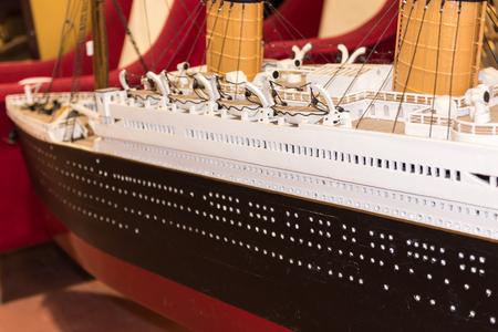 titanic: close up of plastic model ship, titanic Stock Photo