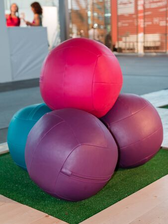 therapy equipment: Leather Colorful Fitness Ball with Hinge and Foam Rubber Inside