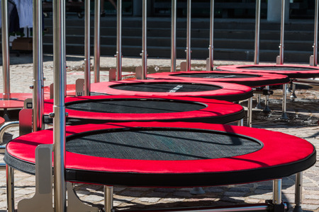 Group of Red Mini Trampoline for Fitness Activity