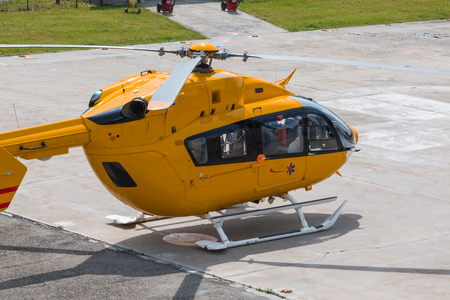 flight helmet: Yellow Emergency Helicopter, medical rescue team - flying squad