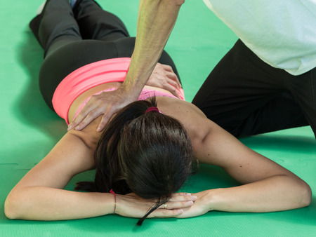 spinal adjustment: Athletes Back Professional Massage after Fitness Activity, Wellness and Sport