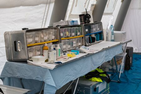 temporary: Emergency Medication and Equipment inside Temporary Rescue Control Centre Tent