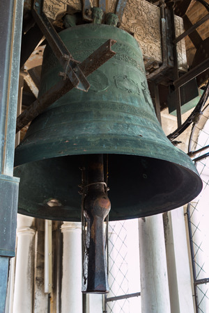 bell bronze bell: Large Bronze Bell on top of San Marcos Tower in Venice, Italy Stock Photo