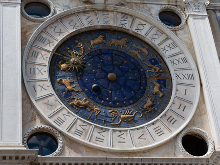 st mark's square: Astronomical Clock Tower in St. Marks Square in Venice - Italy Stock Photo