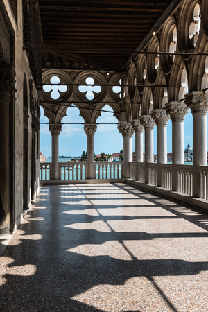 doges  palace: Arcade - Internal View from Doges Palace, Gothic architecture in Venice, Italy Editorial