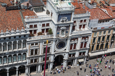 saint marks square: Aerial View of Torre dellOrologio building in Saint Marks Square in Venice, Italy