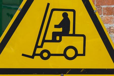 elevator operator: Yellow Fork Lift Truck Operating Warning Sign, Transportation Concept