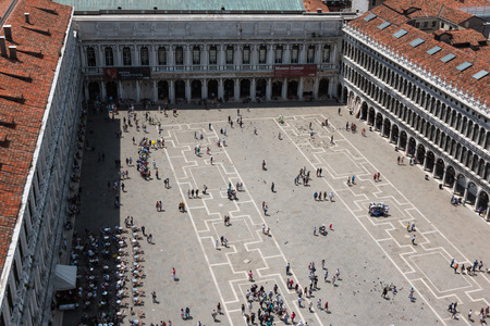 saint marks square: Aerial View on Saint Marks Square in Venice in Sunny Day, Italy
