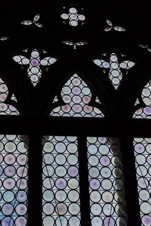 glasswork: Ancient Gothic Stained Glass Window in Gothic Doges Palace in St Marks Square in Venice