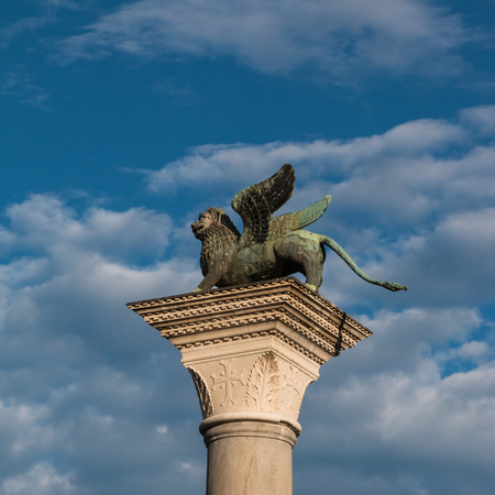 Bronze Winged Lion Column in St. Marks Square, venice, Italy