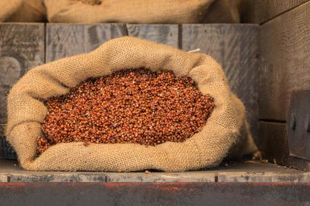 jute sack: Rosso di mais grano all'interno di sacco di juta