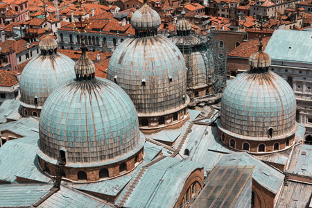saint mark's: Aerial view of Domed Roof of Saint Marks Cathedral and Houses in Venice, Italy Stock Photo