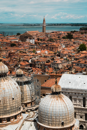 saint marks: Aerial view of Domed Roof of Saint Marks Cathedral and Houses in Venice, Italy Stock Photo