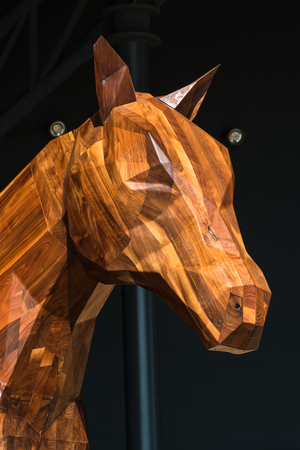 Horse Wooden Sculpture: Brown Woodcarving Statue