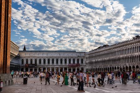 procuratie: Napoleonic Wing and Procuratie Vecchies arcades in Saint Marks Square in Venice, Italy Editorial