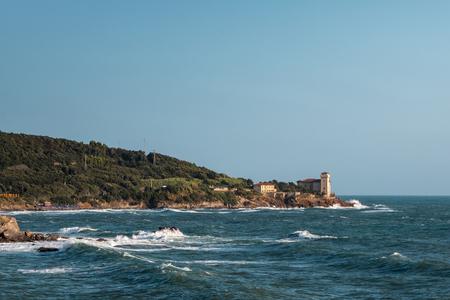choppy: Boccale Castle, Seashore and Choppy Sea in Livorno, Italy