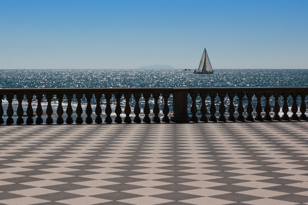livorno: Livorno s Mascagni Terrace and White Sailing Boat in Background, Tuscany - Italy