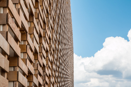 commercial event: Detail of an Original Structure: Wall of Wooden Crate at International Exposition in Milan - Italy