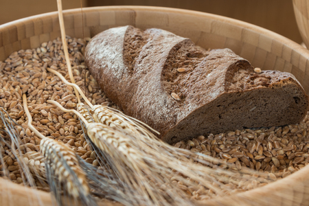 Bowl of Wheat Grains, Flour and Bread - Whole Grain Wheat Kernels