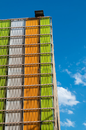 Detail of Futuristic Colorful Building Facade at Exposition in Milan - Italy