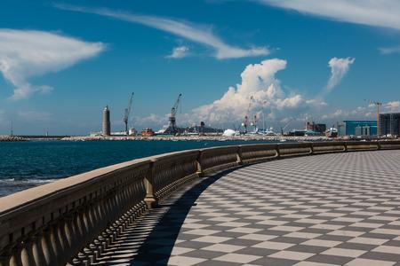 Livorno s Mascagni Terrace, Shipyard and Cranes in Background, Tuscany - Italy Stock Photo