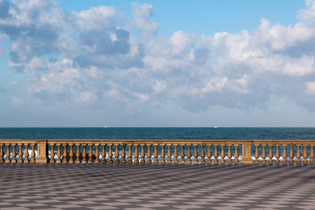 Livorno s Mascagni Terrace and White Ferry-boats in Background, Tuscany - Italy