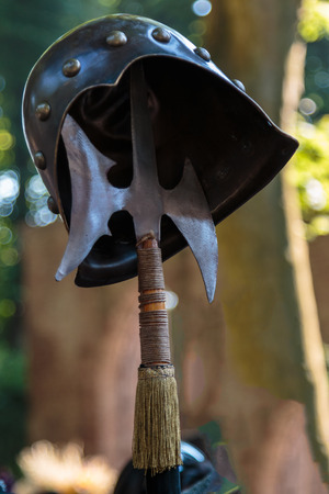 Medieval Ancient Halberd Weapon and Metallic Helmet