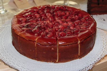 Fresh Red Cake with Strawberry, Jam and Fruit Jelly