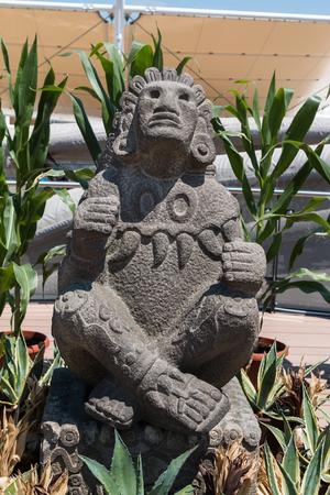 Maya Stone Statue from Mexico: Ancient Corn Divinity Stock Photo