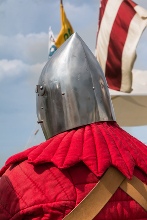 Close up of Knights Silver Helmets: Medieval Event Reconstruction
