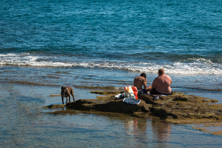 livorno: LIVORNO, ITALY - AUGUST 2015: Black Dog and Two Young Boys seated on Reef near Sea