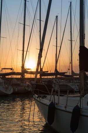Sailing Boats Masts: Dock Seaside at Sunset