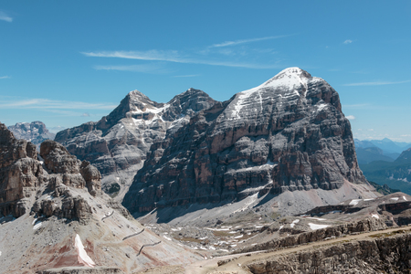 Barren Rocky Mountain with Glaciers in Italian Dolomites Alps in Summer Time