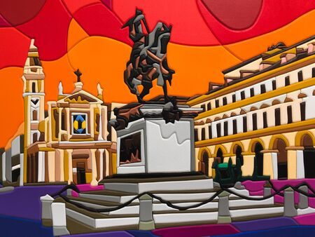 Painted Mosaic and Puzzle Art: Church and Equestrian Statue - Abstract Painting Stock Photo