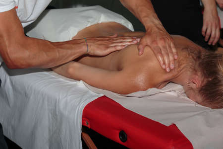 Athletes Muscles Professional Massage Treatment after Sport Workout, Fitness and Wellness