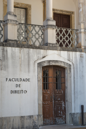 law of portugal: Law School: Main Entrance in University Square in Coimbra, Portugal