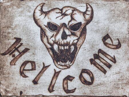 Wooden Board with Illustration of Beast with Horns and Pointy Teeth: Devil in Hell