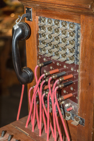 Antique Vintage Telephone Switchboard, Communication Connection 免版税图像