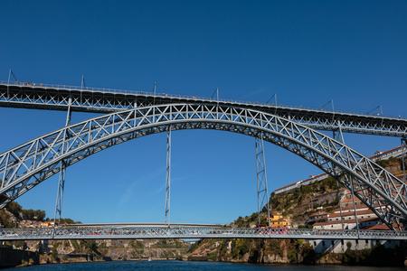 dom: Dom Luis I Bridge over Douro River in Porto, Portugal.