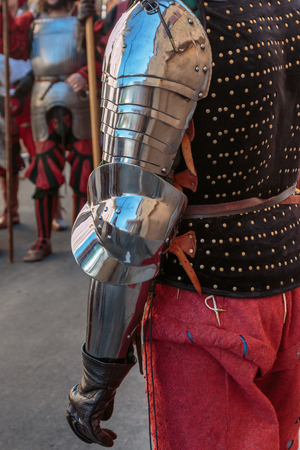 Medieval Metallic Armor for Arms exposed in Outdoor Historic Festival.