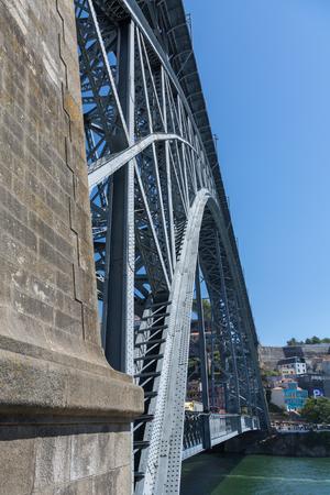 Side View of Dom Luis I Bridge over Douro River in Porto, Portugal. Stock Photo
