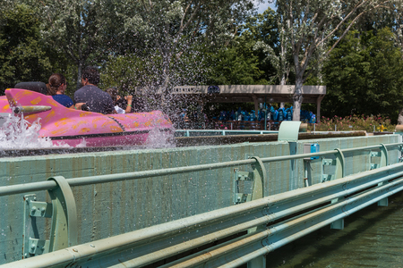 Extreme Water Rides: Water Roller Coaster in Amusement Park with Water Splash Editorial
