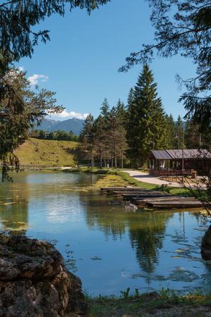 Mosigo Lake in San Vito di Cadore inside Italian Dolomites Alps Scenery.
