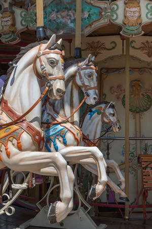 Colorful Carousel Horses in a Holiday Park, Merry-go-round Horse.