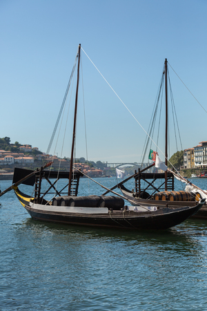 Typical Rabelo Boats on the Bank of the River Douro - Porto, Portugal.