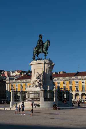 Equestrian Statue of King Jose I in Commerce Square in Lisbon, Portugal.