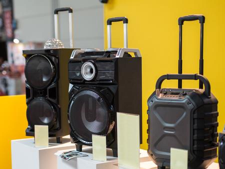 Audio Music Equipment: Three Sound System Speakers Technology. Stock Photo