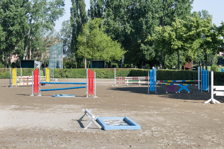Equestrian Obstacle: Empty Field for Horse Jumping Competition.