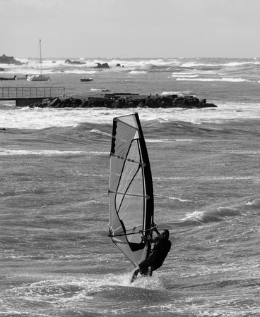 Sea Waves and Wind Surfing in the Summer in Windy Day.