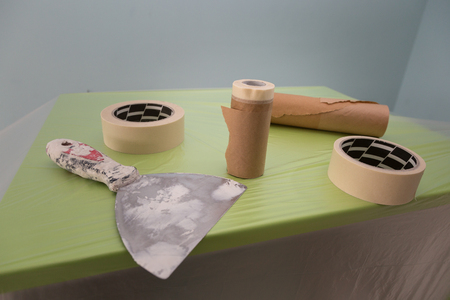Flexible Spatula, Tapes and Tools for Furniture Protection for Painting.